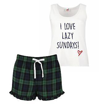 Jag älskar lata söndagar Pyjamas damer Tartan volang kort Pyjamas Set röd blå eller grön blå