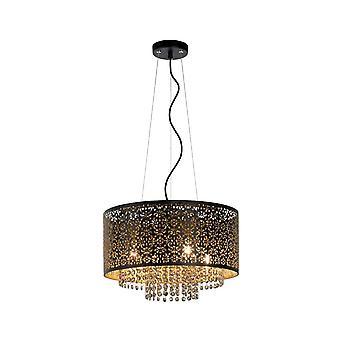 Raka Oriental lucide rond luminaire suspendu noir métal