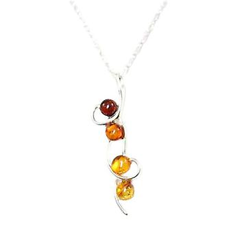 Toc Sterling Silver Four Ball Swirl Amber Pendant on 18 Inch Chain