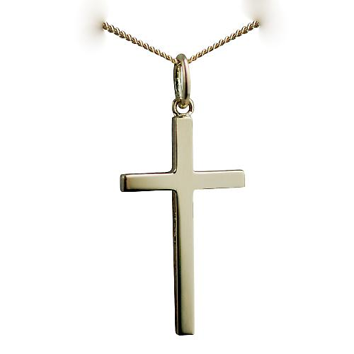 18ct Gold 25x14mm plain solid block Cross with a curb chain