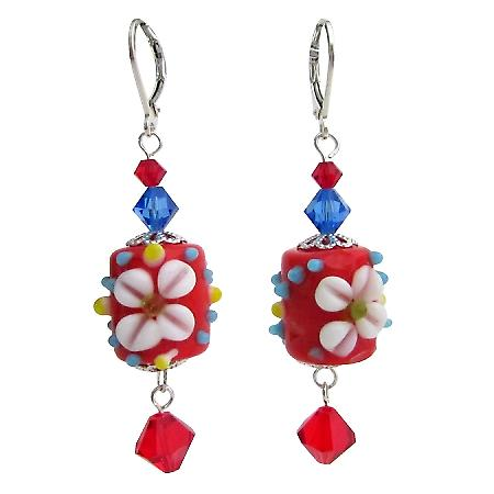 Red Flower Lampwork Swarovski Crystals Sterling Silver Earring