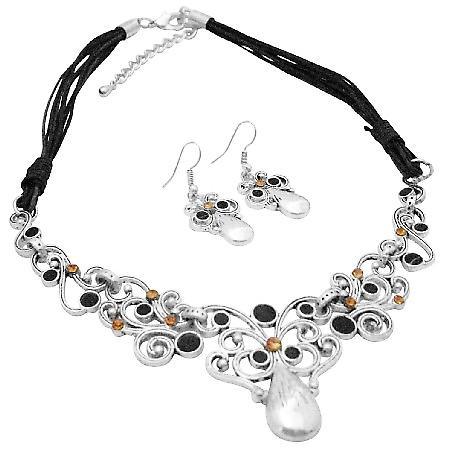 Attractive Jewelry Silver Metal Work Jet & Colorado Rhinestones