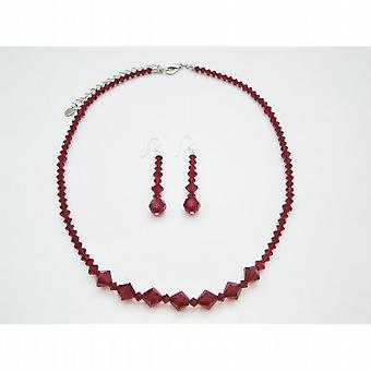 Swarovski Crystals Jewelry Set Siam Red Crystals Necklace Set