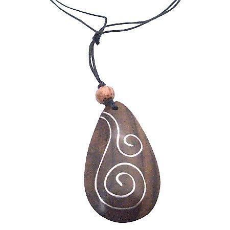 Wooden Pendant Necklace Black Cord Antitque Vintage Necklace Jewelry
