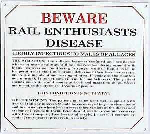 Railway Enthusiasts Disease enamelled steel wall sign