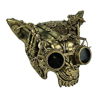Mad Dog metalliske gull Steampunk Wolf ansiktsmaske