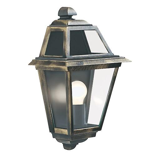 Searchlight 1523 New Orleans IP44 Black & Gold Outdoor Wall Light With Clear Glass