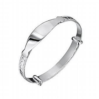Jo For Girls Babies ID Heart Expanding Bangle - 925 Sterling Silver
