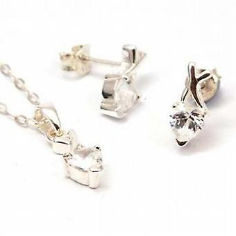 Toc Sterling Silver Cz Heart Earrings and Pendant Set 16 Inch Chain
