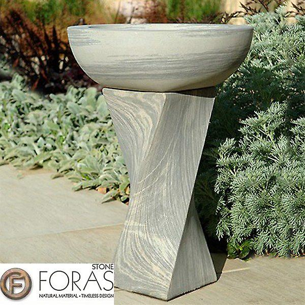 Foras Shark Twist Smooth Honed Stone Bird Bath