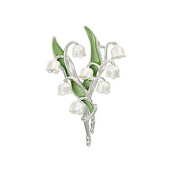 Eternal Collection Lily Of The Valley White Enamel Silver Tone Brooch