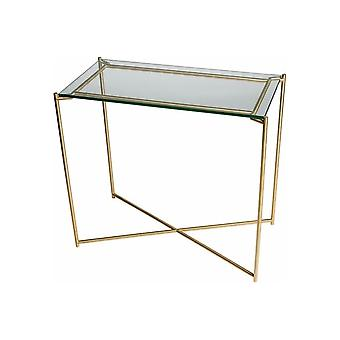 Gillmore Space Clear Glass Small Console Table With Brass Cross Base