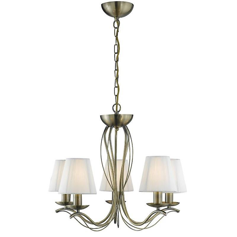 5 Light Multi Arm Ceiling Pendant Antique Brass With Shades