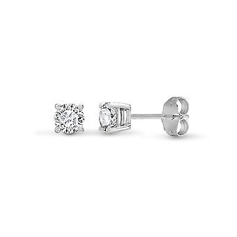 Jewelco London Ladies Solid 18ct White Gold 4 Claw Set Round G SI1 0.2ct Diamond Solitaire Stud Earrings