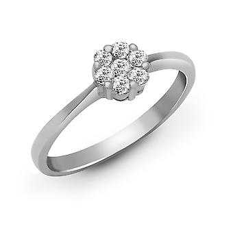 Jewelco London Ladies Solid 18ct White Gold Cluster Set Round G SI1 0.24ct Diamond Daisy 7 Stone Cluster Ring 5mm