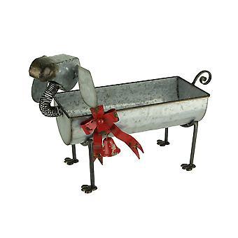 Metal Art Perro de vacaciones con arco y Campana indoor al aire libre Planter Escultura