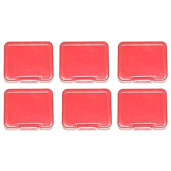 Pro tough plastic storage case holder covers for sd sdhc & micro sd memory cards - 6 pack red