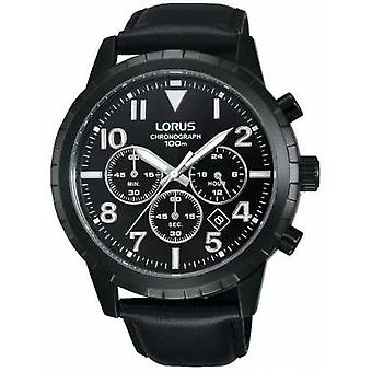 Lorus Mens Black Chronograph Black Leather Strap RT365FX9 Watch