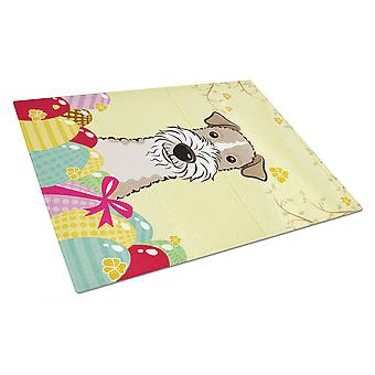 Wire Haired Fox Terrier Easter Egg Hunt Glass Cutting Board Large BB1929LCB