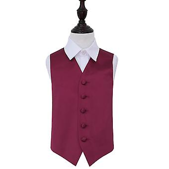 Boy's Burgundy Plain Satin Wedding Waistcoat