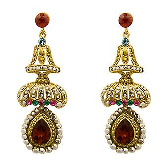 Butler and Wilson Siam Red Crystal Umbrella Drop Earrings