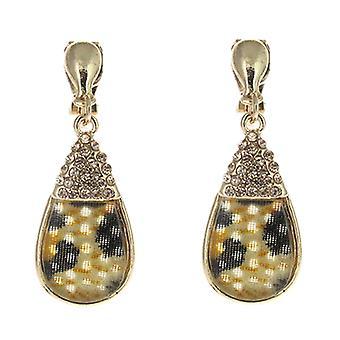 Clip On Earrings Store Leopard  and  Auburn Crystal Teardrop Clip On Earrings