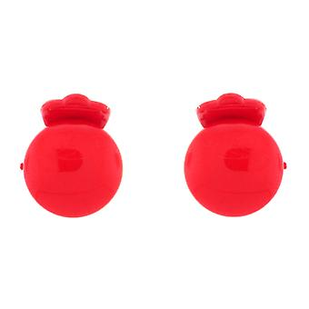 Clip On Earrings Store Glossy Red Round Button Clip On Earrings