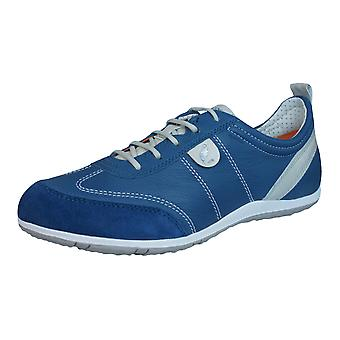 Geox D Vega A Womens Leather Trainers / Shoes - Denim Blue
