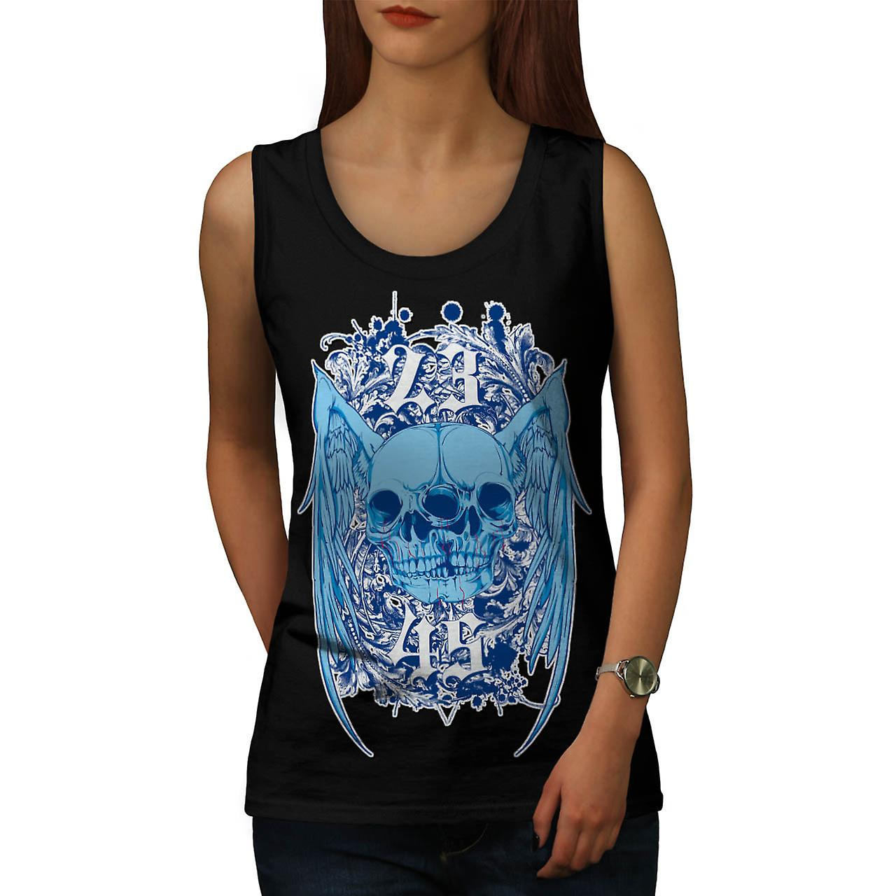 Double Skull Ghost Joint Monster Women Black Tank Top | Wellcoda