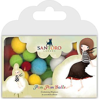 Santoro Kori Kumi Pom Pom Balls 50/Pkg-Assorted Sizes SKKPOMB1