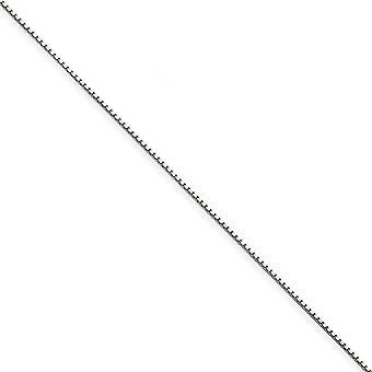 14k wit gouden Solid gepolijst Lobster Claw sluiting .9mm vak Chain ketting - lengte: 14 tot en met 30