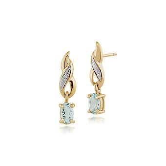 Gemondo 9ct Yellow Gold 0.46ct Aquamarine & Diamond Oval Drop Earrings