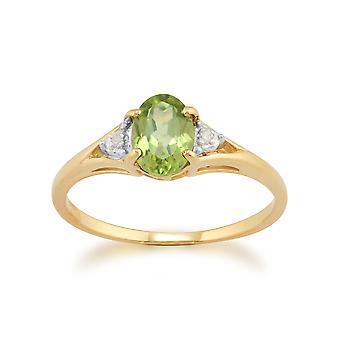 9ct oro giallo 0,77 ct Peridot & anello di diamanti