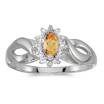 14k White Gold Marquise Citrine And Diamond Ring