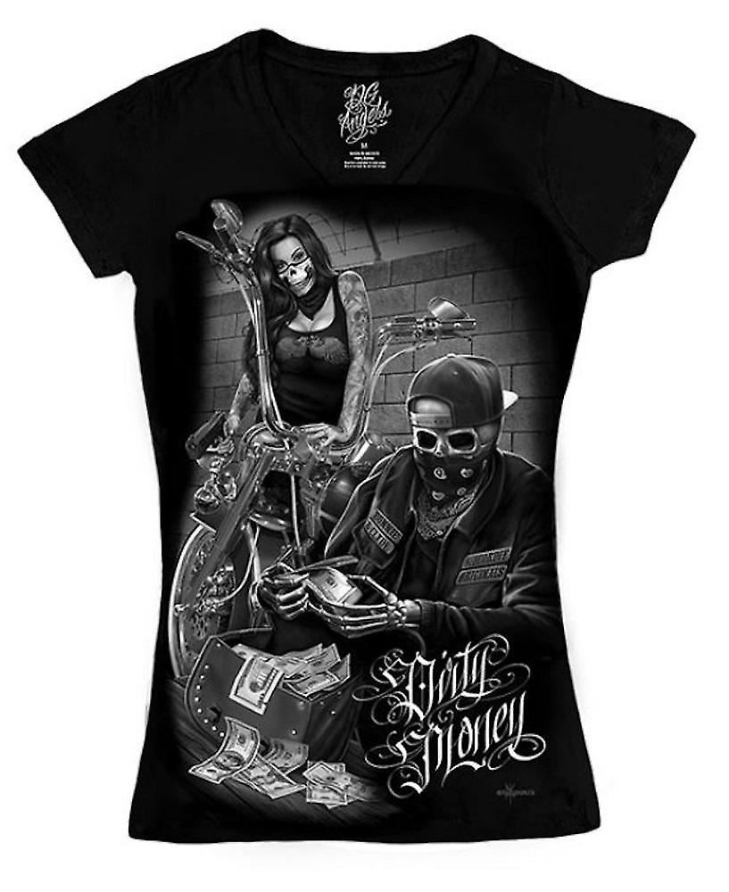 DGA Tees Womens Ride Or Die Bonnie And Clyde Dirty Money V Neck Tshirt Black