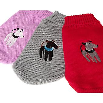 Doggy Things Applique Jumper Red Extra Extra Small 30cm