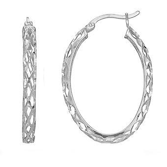 Sterling zilveren Rhodium afwerking glanzend Diamond Cut geweven ovale Hoop Earrings, Diameter 30mm