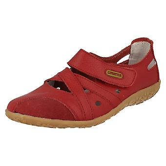 Ladies Lifestyle Casual Flat Shoes Juliet - Red Leather - UK Size 4 - EU Size 37 - US Size 6