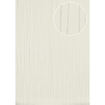ICO-5077-1 non-woven wallpaper smooth lustrous design stripes wallpaper Atlas silver white perl-7,035 m2