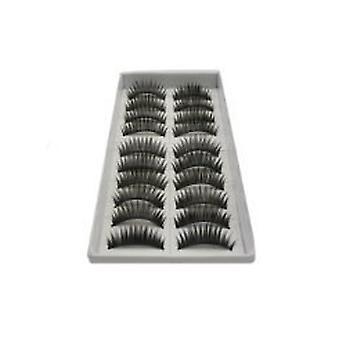 10 Pairs Black Long Voluminous False Eyelash Eye lashes by Boolavard® TM