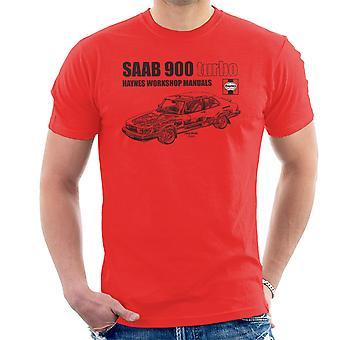 T-shirt Haynes Workshop 0765 manuale Saab 900 Turbo nero uomo