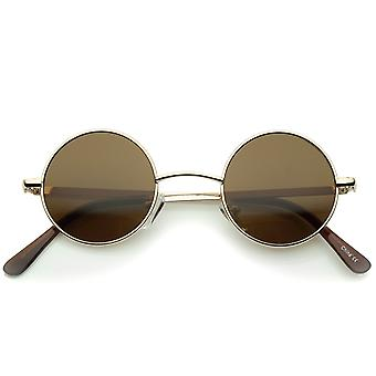 Small Retro Lennon Inspired Style Neutral-Colored Lens Round Metal Sunglasses 41mm