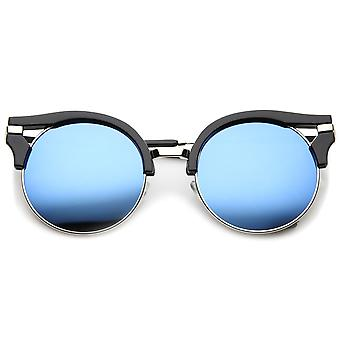 Round Half-Frame Cutout Color Mirror Flat Lens Cat Eye Sunglasses 56mm