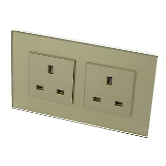 I LumoS Luxury Unswitched Gold Glass 13A UK Wall Plug Double Socket