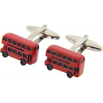 David Van Hagen Bus Cufflinks - Silver/Red