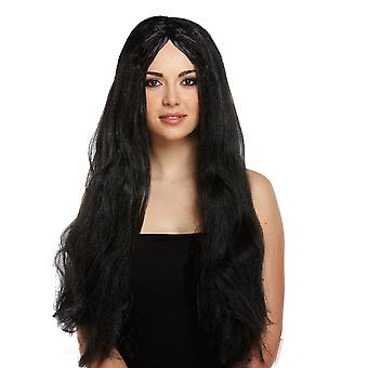 Adult Halloween Long Black Straight Witch Wig Fancy Dress Accessory 65cm
