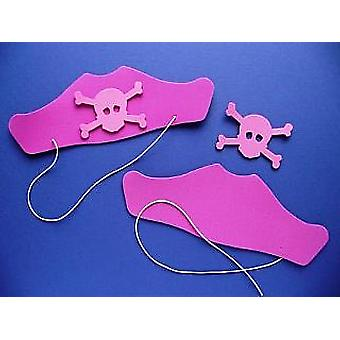 10 Pink Foam Pirate Hats Kit for Kids Crafts & Parties - SALE