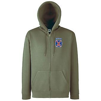 Amerikanska armén 10th Mountain Division broderad Logo - zippade Hoodie jacka