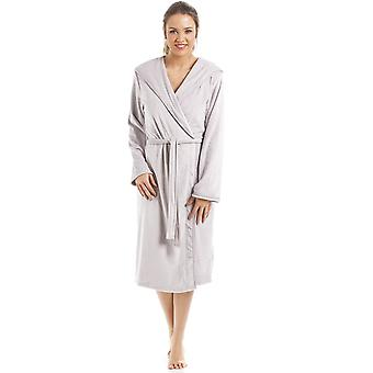 Camille Supersoft Grey Velvet Knee Length Bathrobe