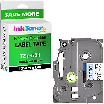 Compatible TZE531 12x8 blue Cartridge for Brother PT-H100 Label